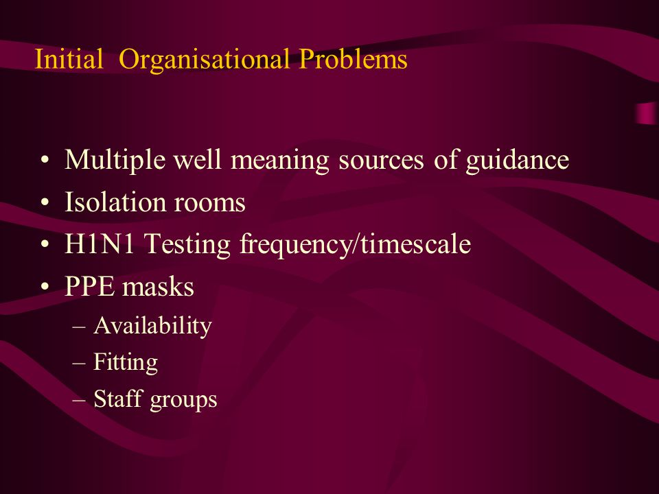 Initial Organisational Problems Multiple well meaning sources of guidance Isolation rooms H1N1 Testing frequency/timescale PPE masks –Availability –Fi
