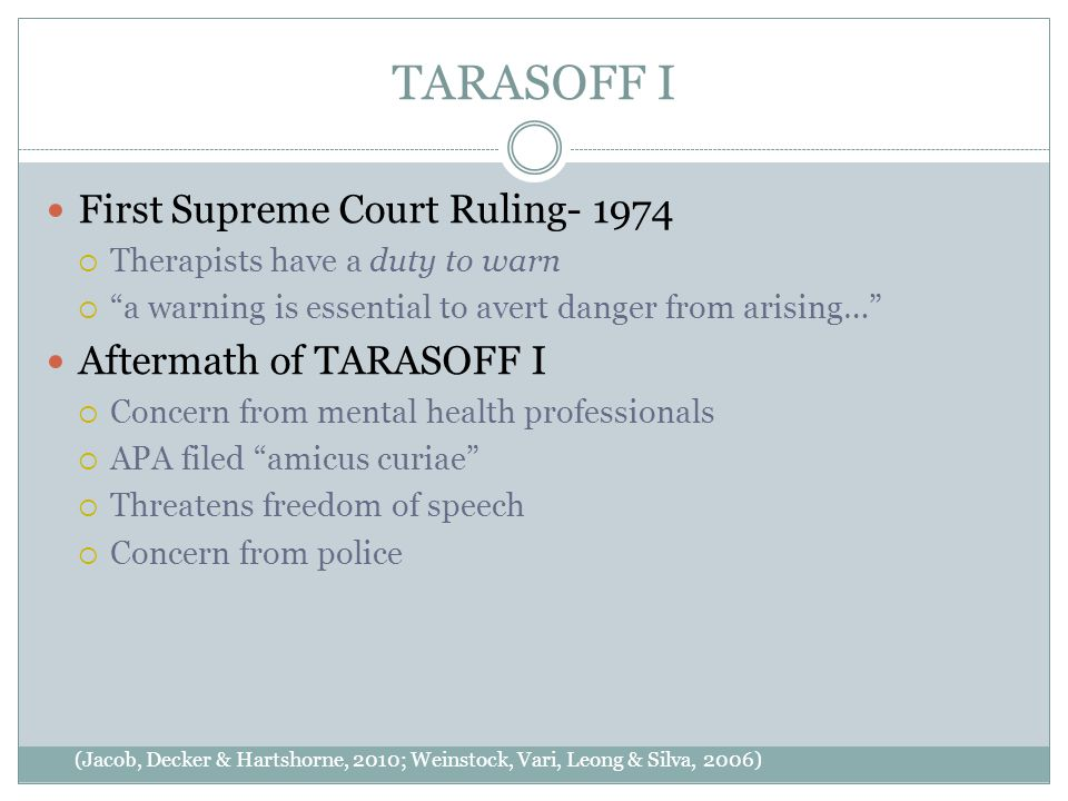 TARASOFF I (Jacob, Decker & Hartshorne, 2010; Weinstock, Vari, Leong & Silva, 2006) First Supreme Court Ruling- 1974  Therapists have a duty to warn  a warning is essential to avert danger from arising… Aftermath of TARASOFF I  Concern from mental health professionals  APA filed amicus curiae  Threatens freedom of speech  Concern from police