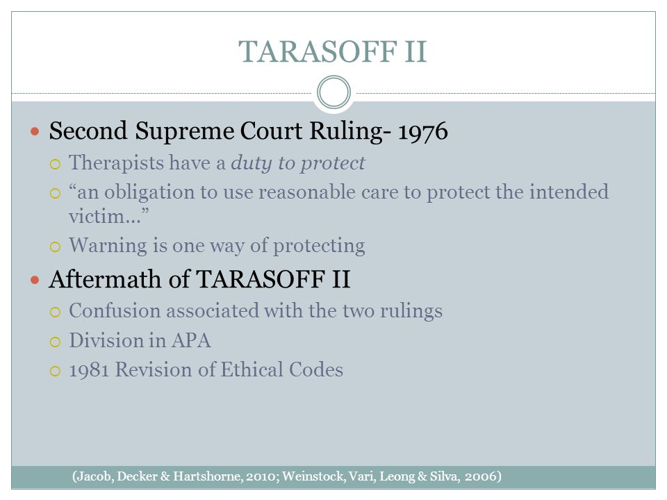 TARASOFF II (Jacob, Decker & Hartshorne, 2010; Weinstock, Vari, Leong & Silva, 2006) Second Supreme Court Ruling- 1976  Therapists have a duty to protect  an obligation to use reasonable care to protect the intended victim…  Warning is one way of protecting Aftermath of TARASOFF II  Confusion associated with the two rulings  Division in APA  1981 Revision of Ethical Codes