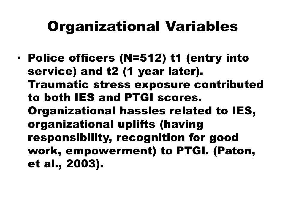 Organizational Variables Police officers (N=512) t1 (entry into service) and t2 (1 year later).