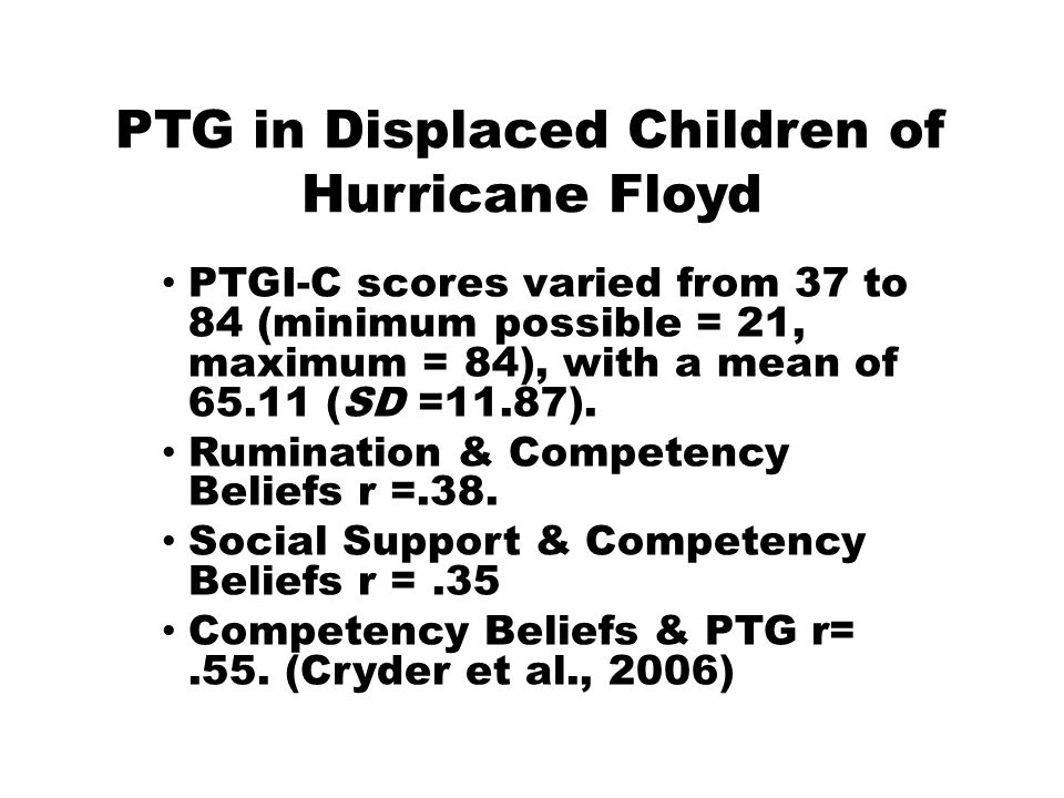 PTGI-C scores varied from 37 to 84 (minimum possible = 21, maximum = 84), with a mean of 65.11 (SD =11.87).