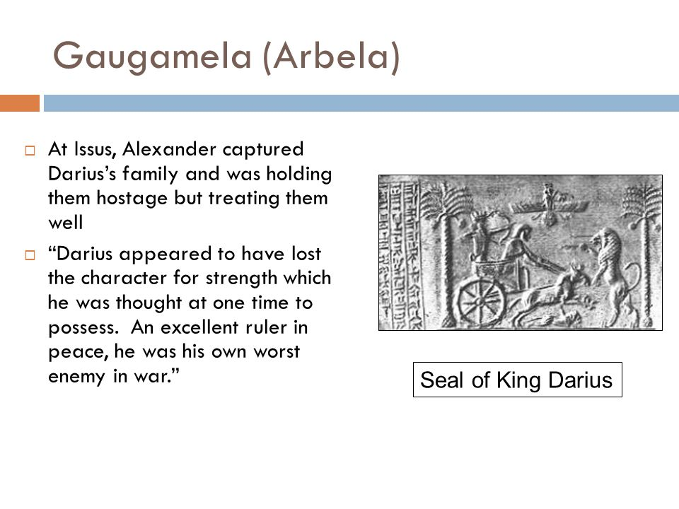 Gaugamela (Arbela)  At Issus, Alexander captured Darius's family and was holding them hostage but treating them well  Darius appeared to have lost the character for strength which he was thought at one time to possess.