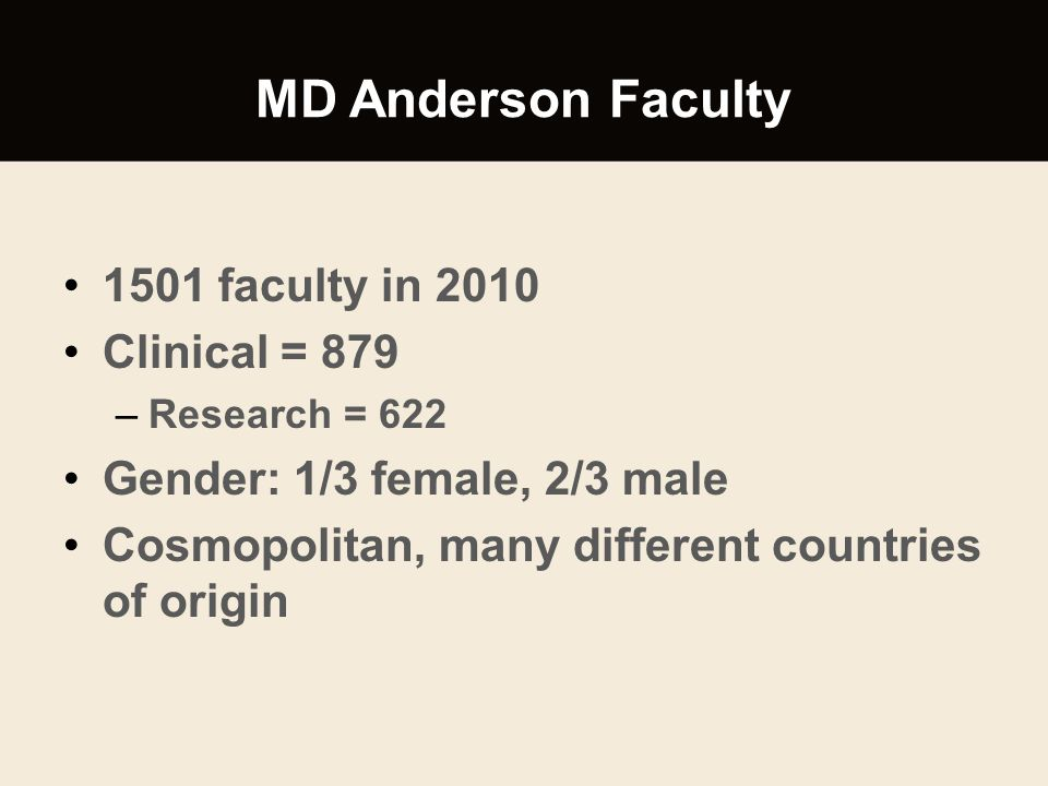 MD Anderson Faculty 1501 faculty in 2010 Clinical = 879 –Research = 622 Gender: 1/3 female, 2/3 male Cosmopolitan, many different countries of origin