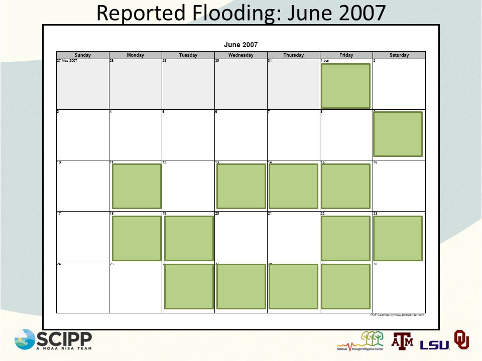 Reported Flooding: June 2007
