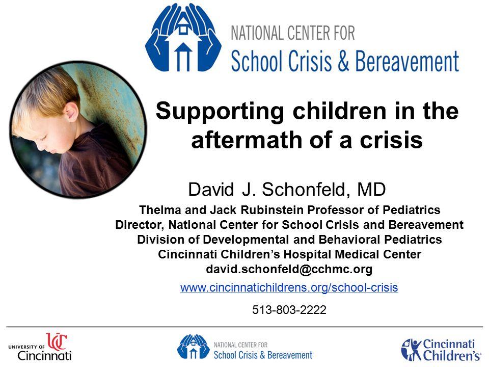 Outline of Presentation How to support children after a disaster Symptoms of adjustment reactions Timeline for adjustment Professional self-care