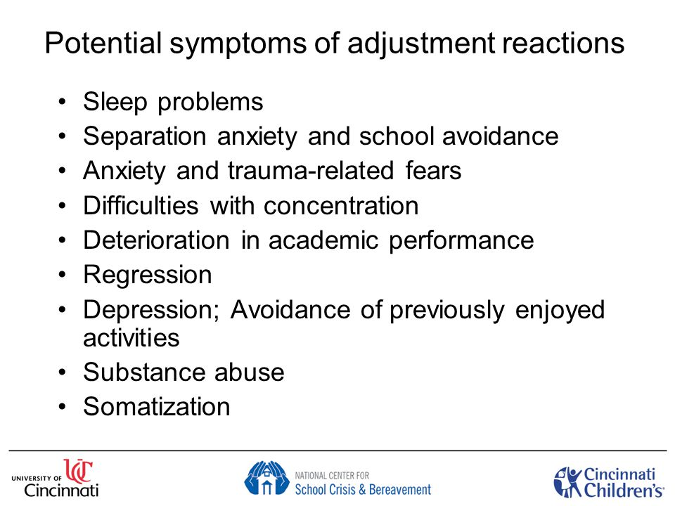 What to expect in schools in absence of intervention ↓ Cognitive functioning and academic achievement (anxiety, ↓ concentration, sleep problems, depression) ↑ Absenteeism (school avoidance) ↑ Suspensions/expulsions (irritability, social regression, substance abuse) → → ↓ Graduation Taking time in schools to help children adjust to disaster and aftermath is essential to promote academic achievement