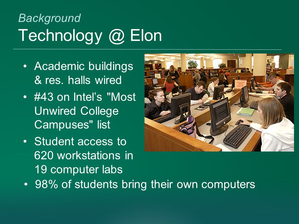 Background Technology @ Elon Academic buildings & res.