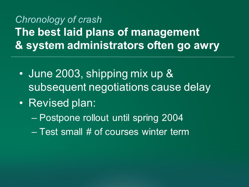 Chronology of crash The best laid plans of management & system administrators often go awry June 2003, shipping mix up & subsequent negotiations cause delay Revised plan: –Postpone rollout until spring 2004 –Test small # of courses winter term
