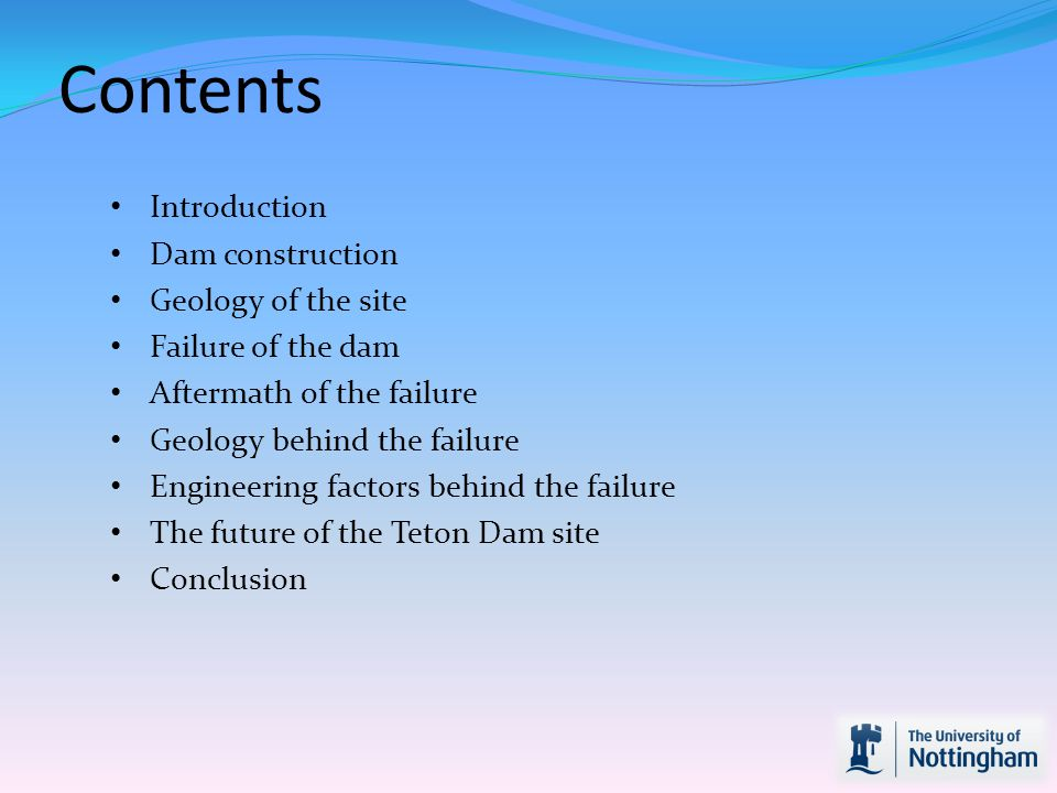 As every dam engineer knows, water also has one job, and that is to get past anything in its way!! Conclusion Collapse caused by a combination of bad engineering decisions related to the geology of the site.