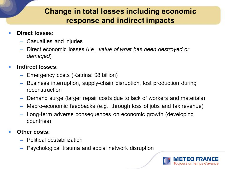 Change in total losses including economic response and indirect impacts  Direct losses: –Casualties and injuries –Direct economic losses (i.e., value of what has been destroyed or damaged)  Indirect losses: –Emergency costs (Katrina: $8 billion) –Business interruption, supply-chain disruption, lost production during reconstruction –Demand surge (larger repair costs due to lack of workers and materials) –Macro-economic feedbacks (e.g., through loss of jobs and tax revenue) –Long-term adverse consequences on economic growth (developing countries)  Other costs: –Political destabilization –Psychological trauma and social network disruption