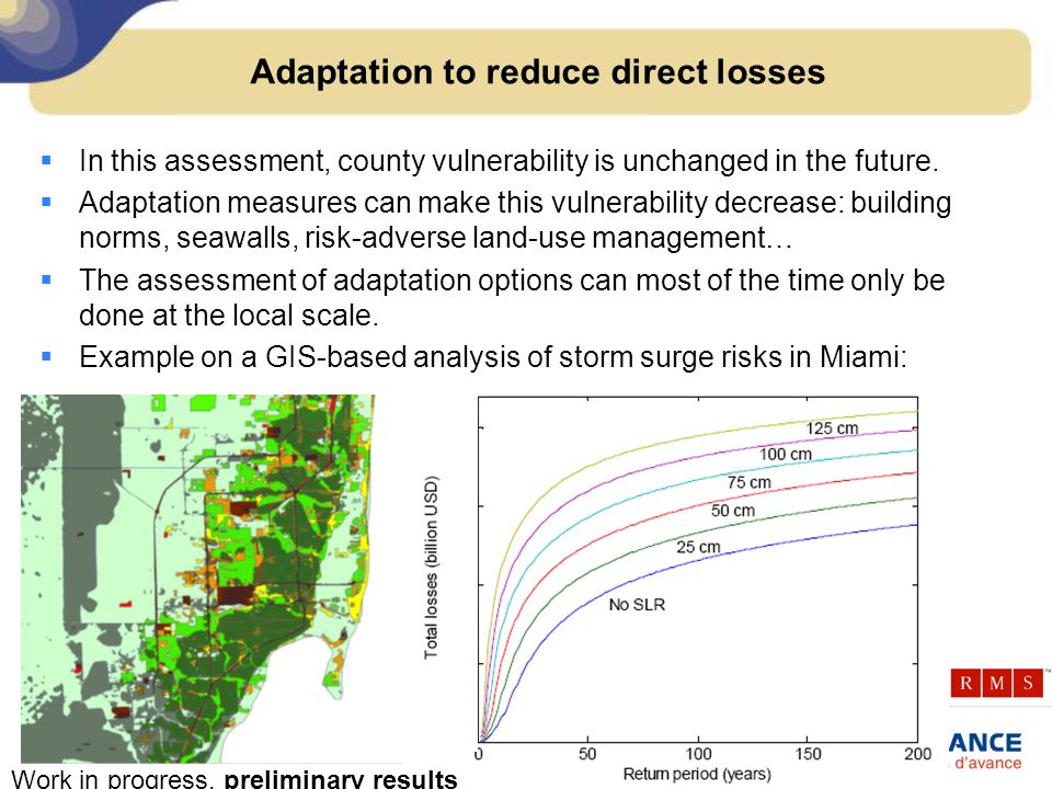 Adaptation to reduce direct losses  In this assessment, county vulnerability is unchanged in the future.