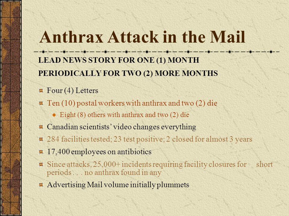 Anthrax Attack in the Mail LEAD NEWS STORY FOR ONE (1) MONTH PERIODICALLY FOR TWO (2) MORE MONTHS Four (4) Letters Ten (10) postal workers with anthrax and two (2) die Eight (8) others with anthrax and two (2) die Canadian scientists' video changes everything 284 facilities tested; 23 test positive; 2 closed for almost 3 years 17,400 employees on antibiotics Since attacks, 25,000+ incidents requiring facility closures for short periods...
