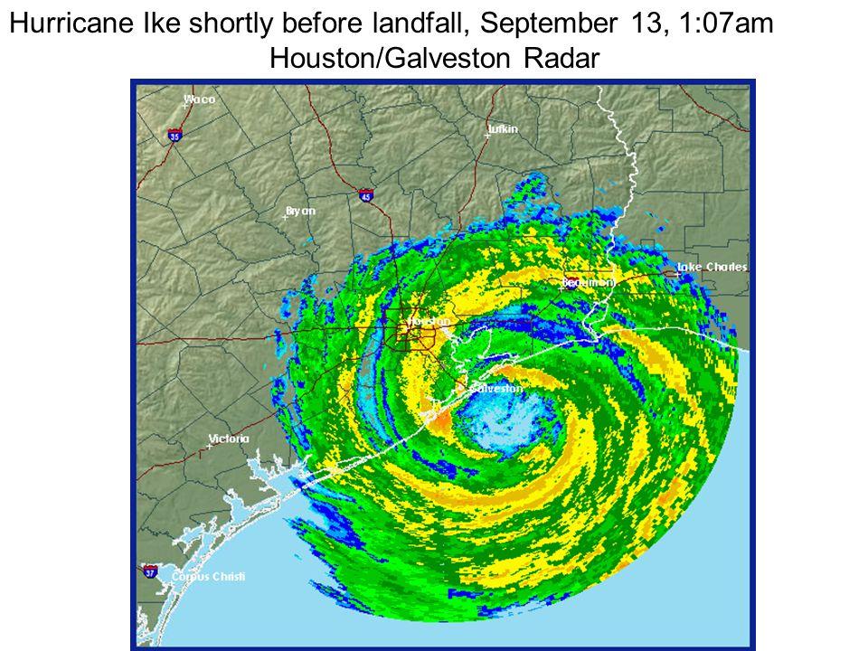Hurricane Ike shortly before landfall, September 13, 1:07am Houston/Galveston Radar
