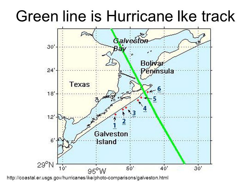 Green line is Hurricane Ike track http://coastal.er.usgs.gov/hurricanes/ike/photo-comparisons/galveston.html