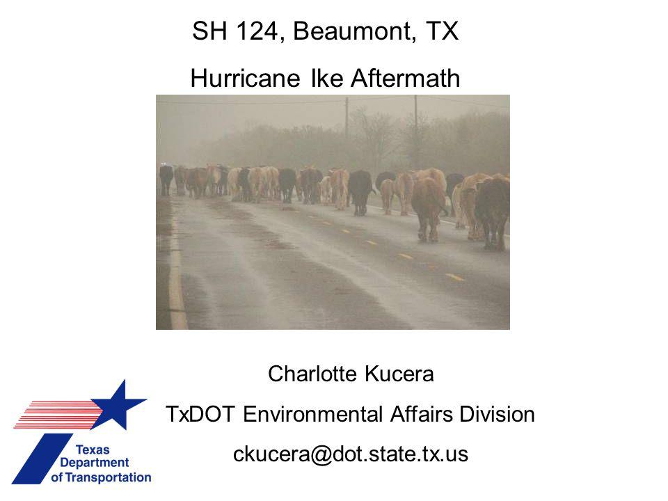 SH 124, Beaumont, TX Hurricane Ike Aftermath Charlotte Kucera TxDOT Environmental Affairs Division ckucera@dot.state.tx.us