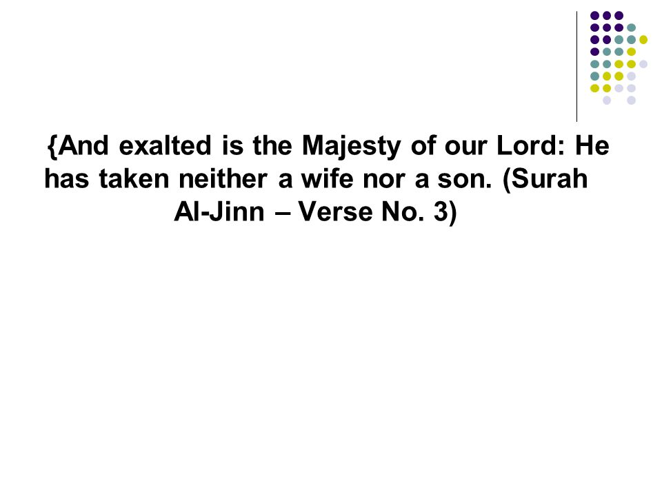 {And exalted is the Majesty of our Lord: He has taken neither a wife nor a son. (Surah Al-Jinn – Verse No. 3)