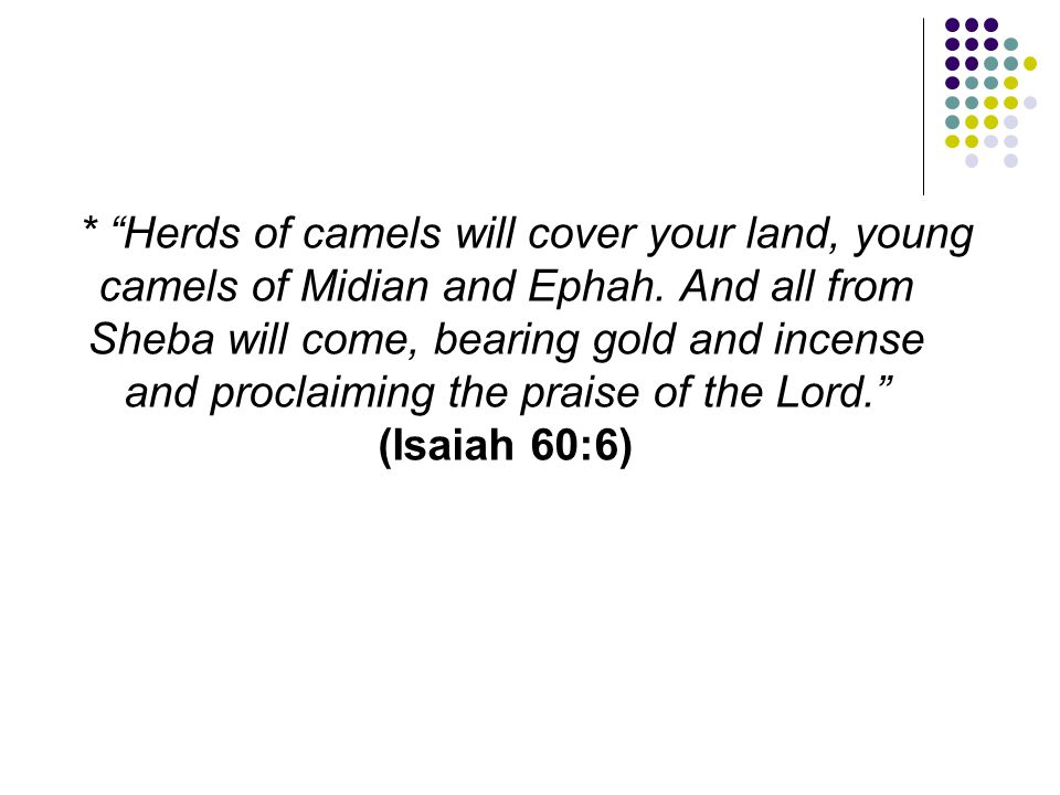"""* """"Herds of camels will cover your land, young camels of Midian and Ephah. And all from Sheba will come, bearing gold and incense and proclaiming the"""