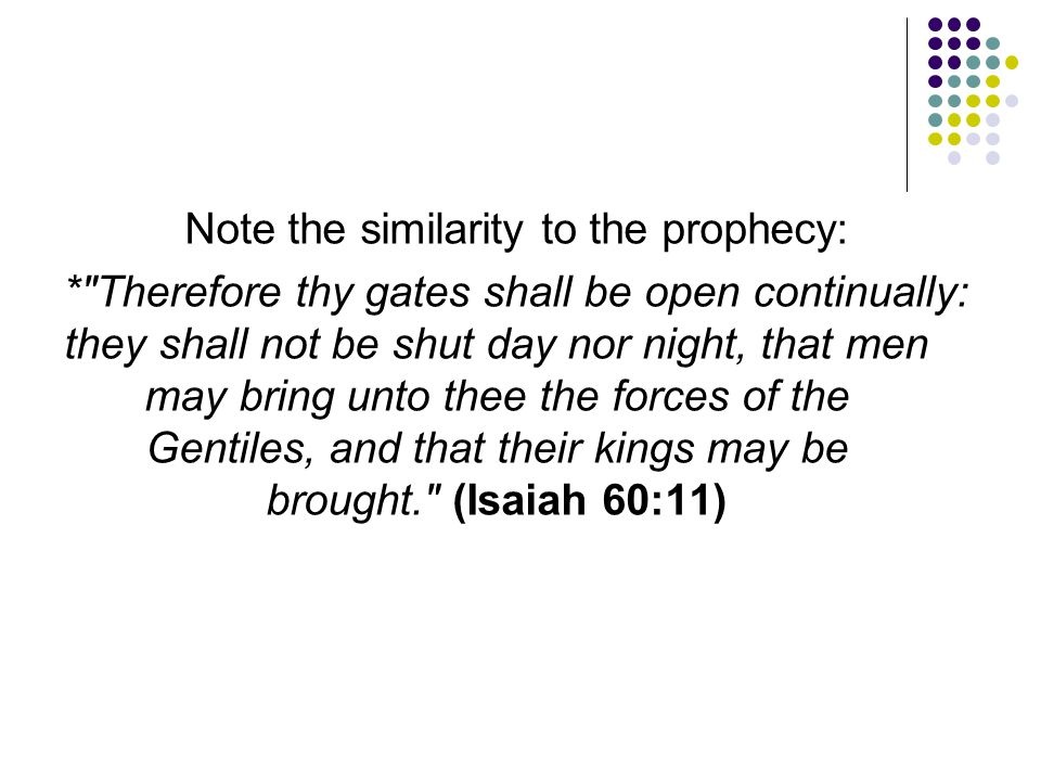 Note the similarity to the prophecy: *