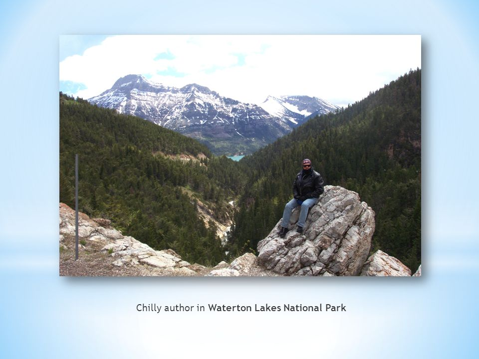 Chilly author in Waterton Lakes National Park