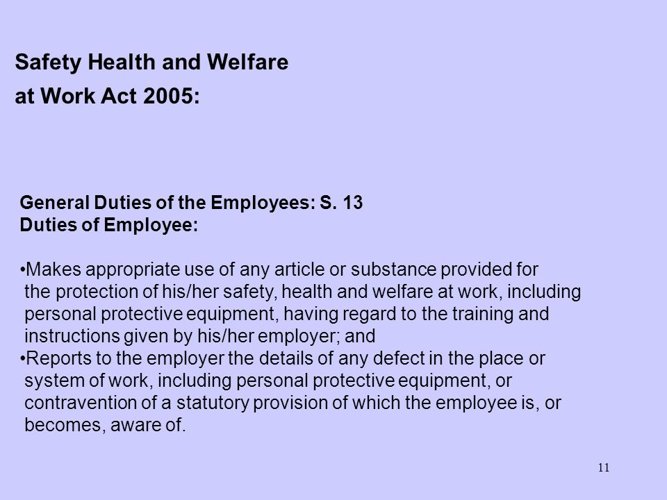 11 General Duties of the Employees: S. 13 Duties of Employee: Makes appropriate use of any article or substance provided for the protection of his/her