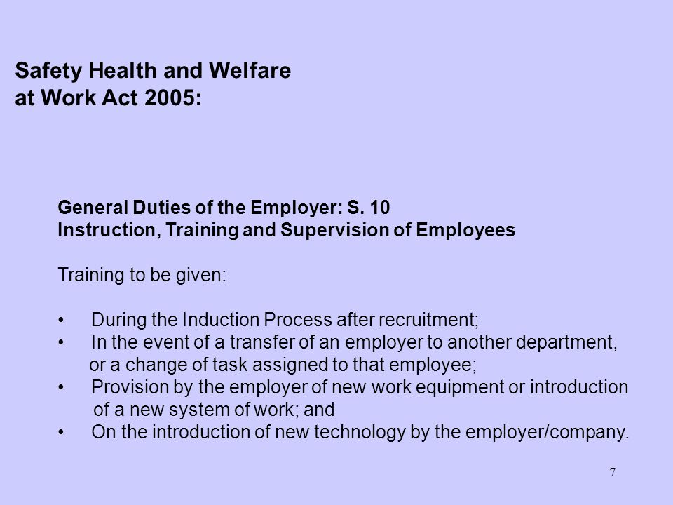 8 General Duties of the Employer: S.