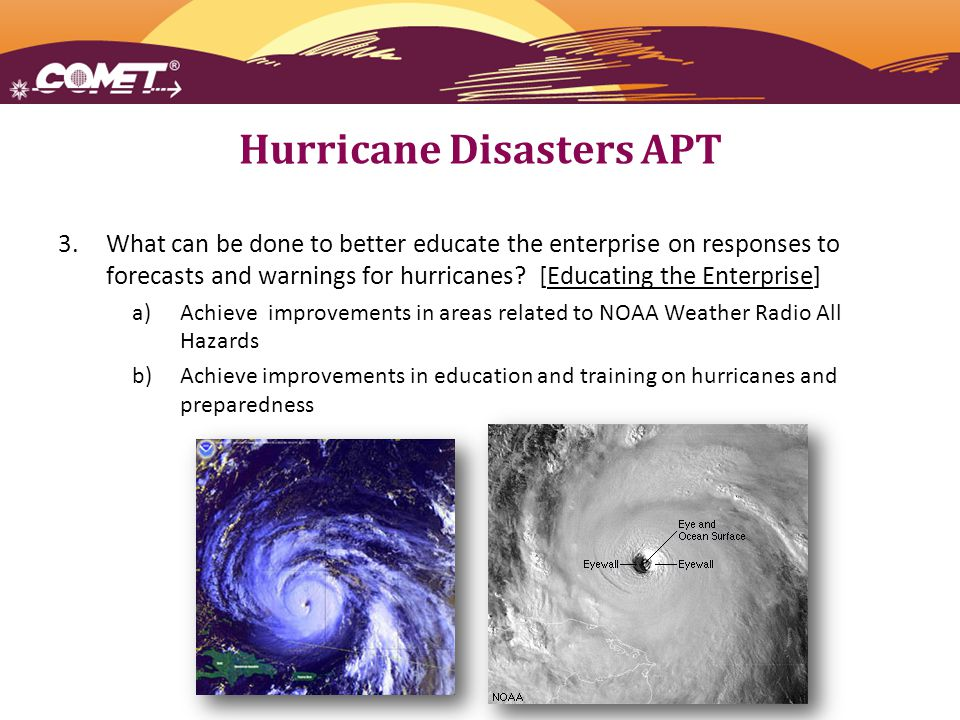 Hurricane Disasters APT 3.What can be done to better educate the enterprise on responses to forecasts and warnings for hurricanes.