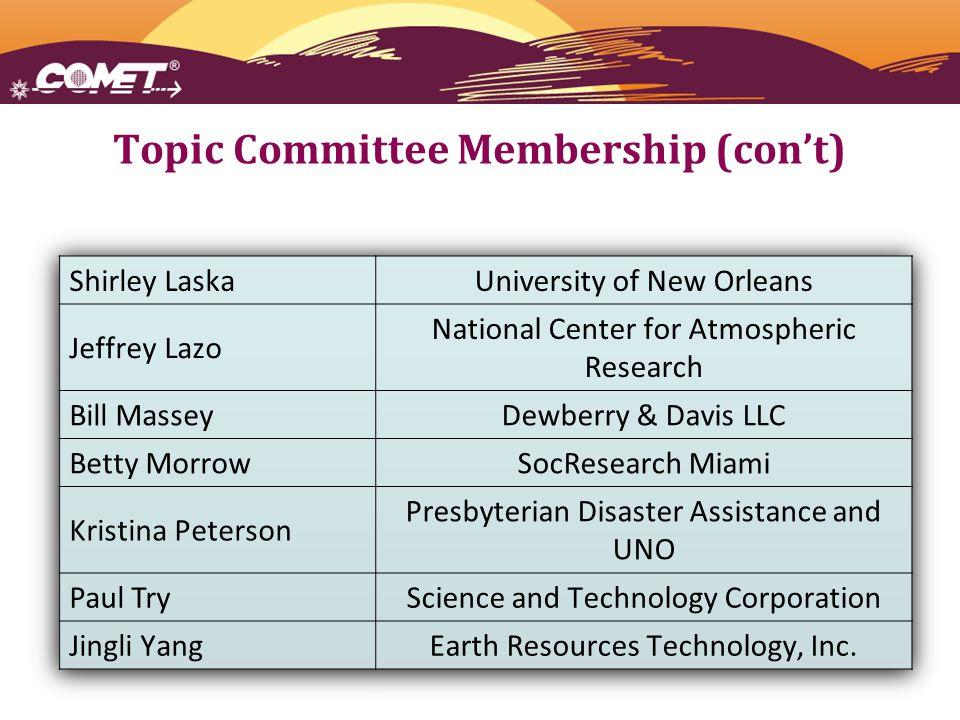 Topic Committee Membership (con't)