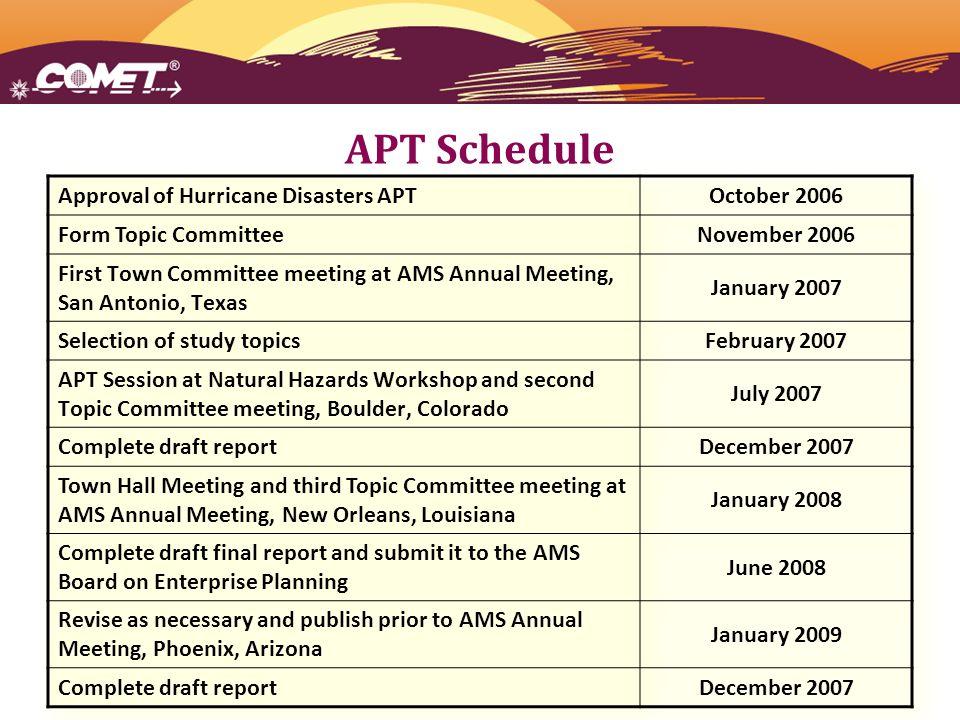 APT Schedule