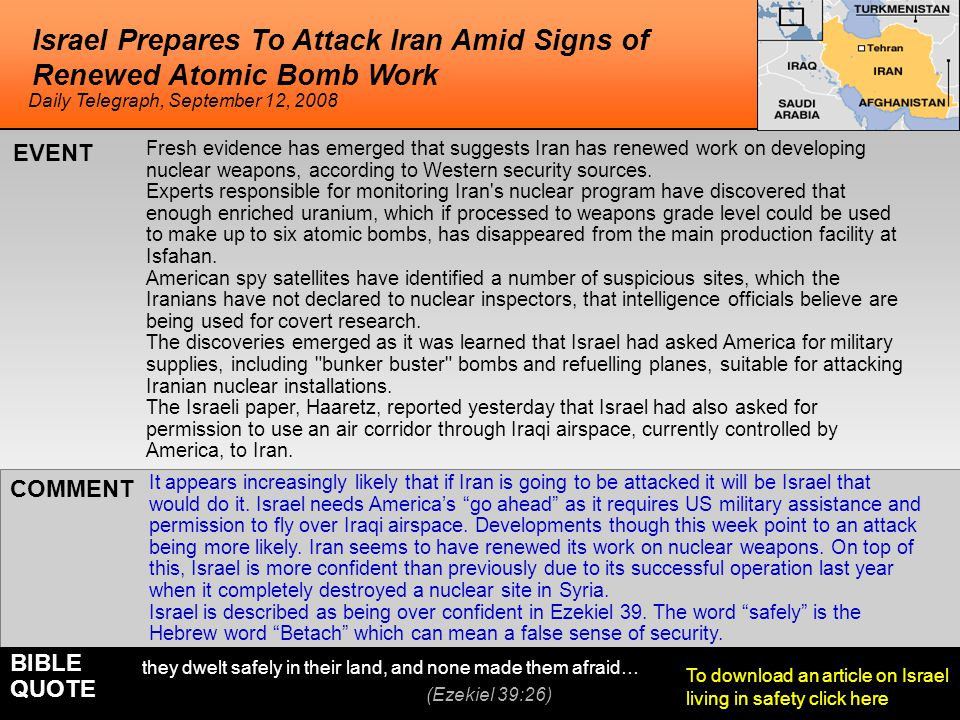 Israel Prepares To Attack Iran Amid Signs of Renewed Atomic Bomb Work It appears increasingly likely that if Iran is going to be attacked it will be I