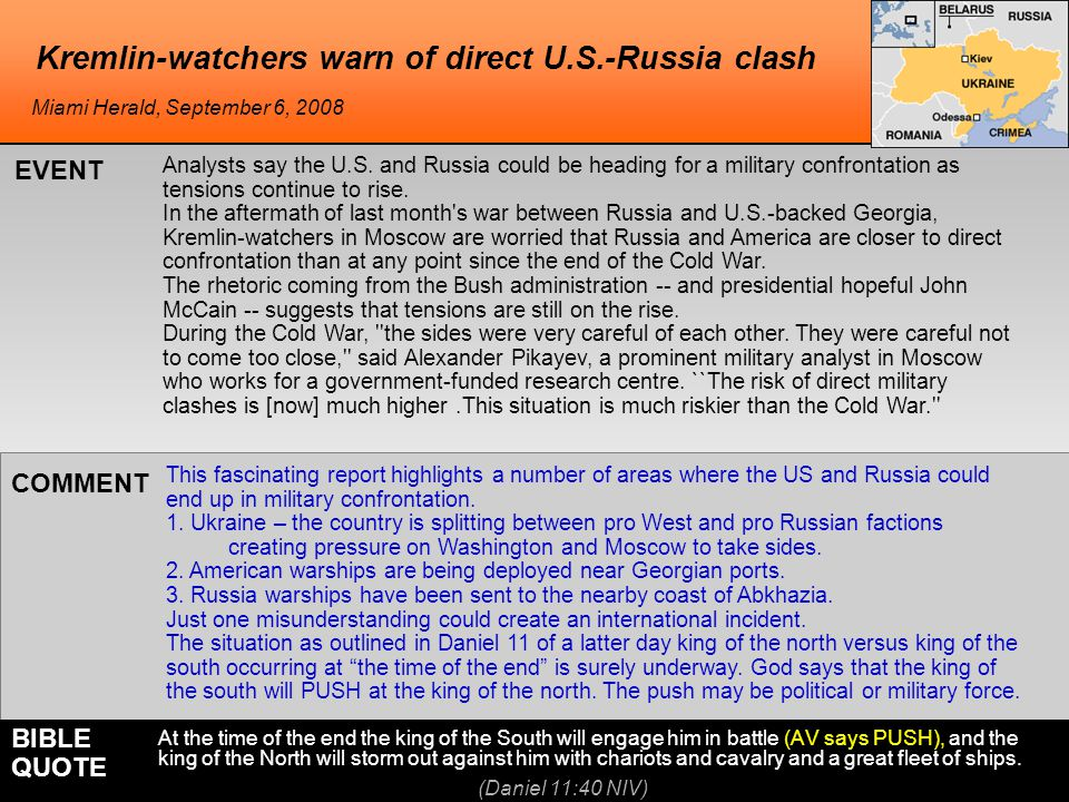 Kremlin-watchers warn of direct U.S.-Russia clash This fascinating report highlights a number of areas where the US and Russia could end up in militar