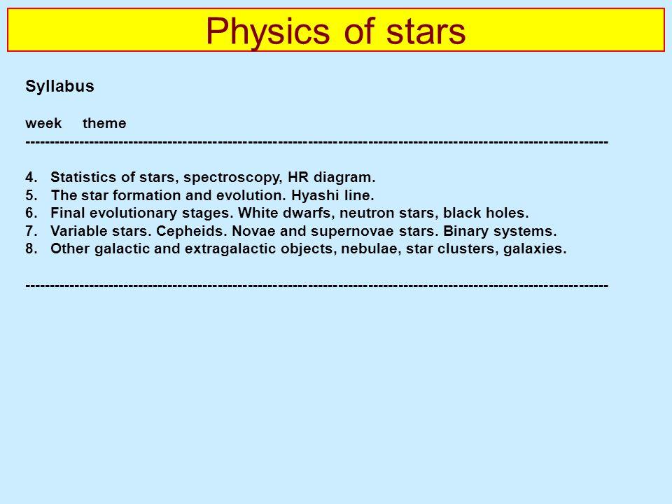 Physics of stars Syllabus week theme --------------------------------------------------------------------------------------------------------------------- 4.Statistics of stars, spectroscopy, HR diagram.