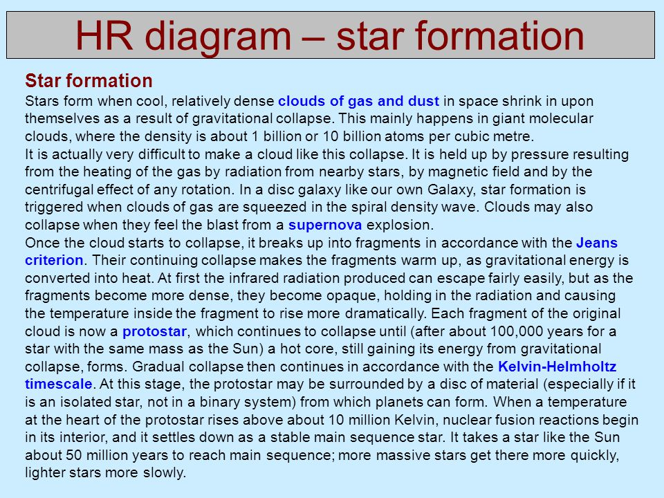 HR diagram – star formation Star formation Stars form when cool, relatively dense clouds of gas and dust in space shrink in upon themselves as a result of gravitational collapse.
