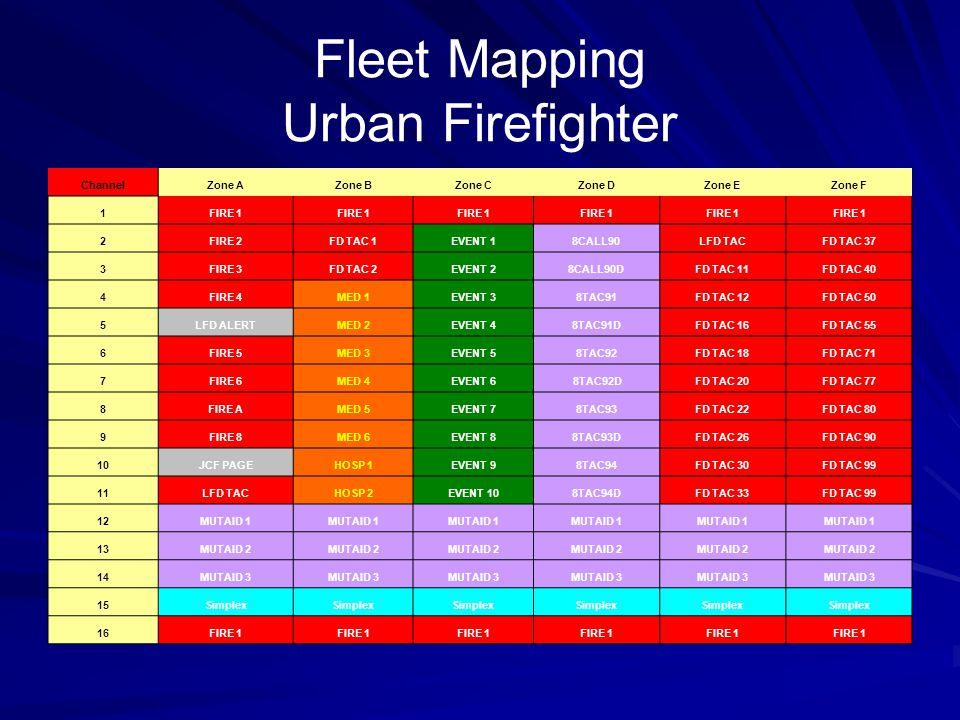 Fleet Mapping Urban Firefighter ChannelZone AZone BZone CZone DZone EZone F 1FIRE 1 2FIRE 2FD TAC 1EVENT 18CALL90LFD TACFD TAC 37 3FIRE 3FD TAC 2EVENT