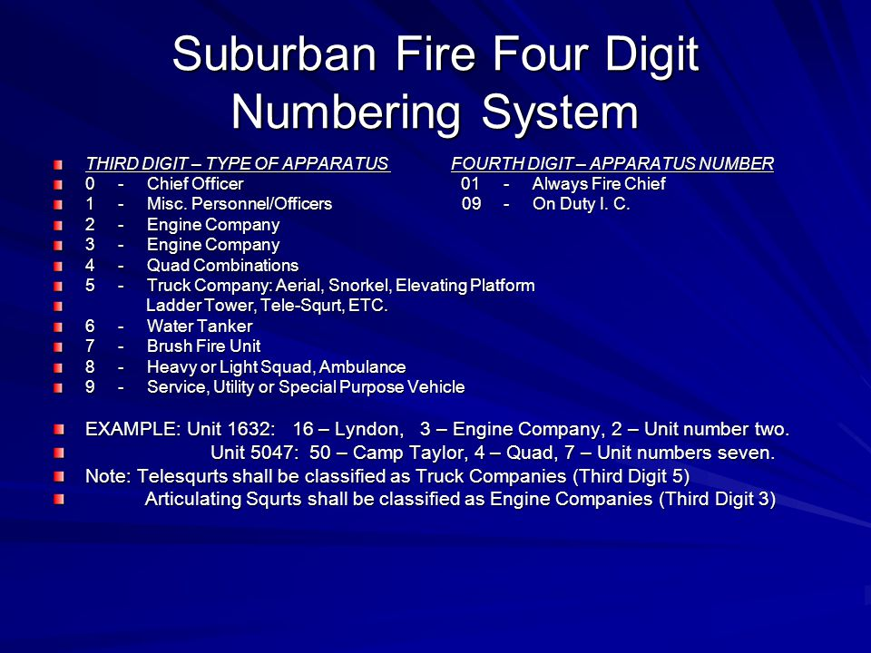 Suburban Fire Four Digit Numbering System THIRD DIGIT – TYPE OF APPARATUS FOURTH DIGIT – APPARATUS NUMBER 0 - Chief Officer 01 - Always Fire Chief 1 -