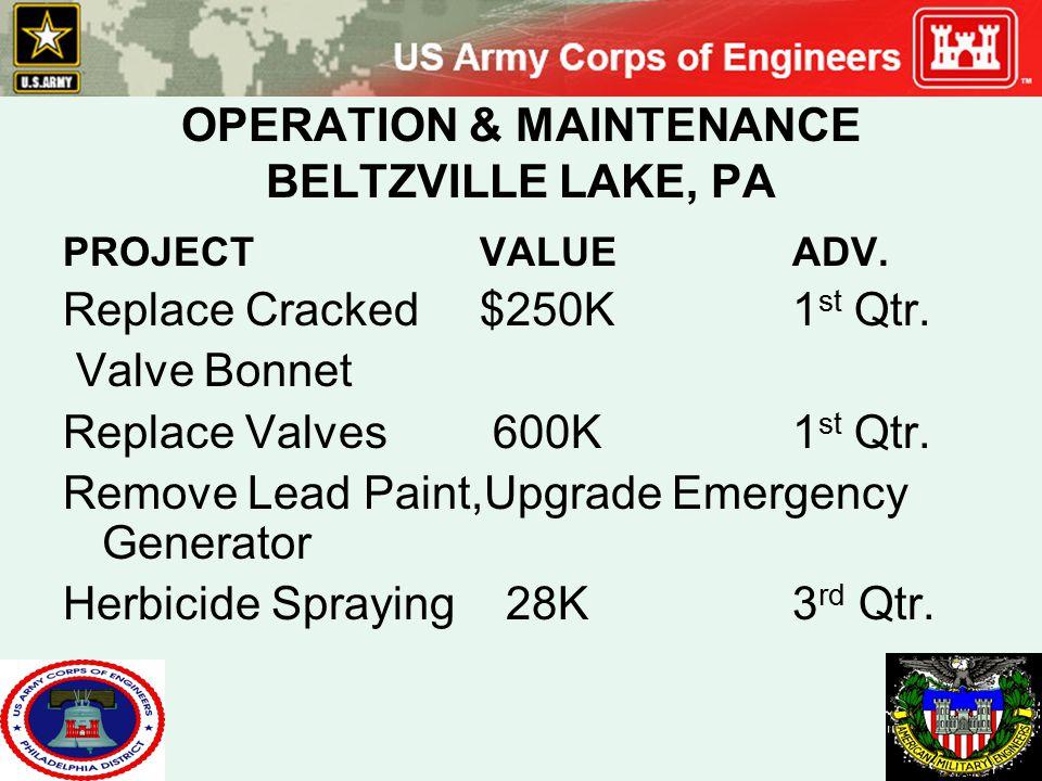 OPERATION & MAINTENANCE BELTZVILLE LAKE, PA PROJECTVALUEADV. Replace Cracked$250K1 st Qtr. Valve Bonnet Replace Valves 600K1 st Qtr. Remove Lead Paint