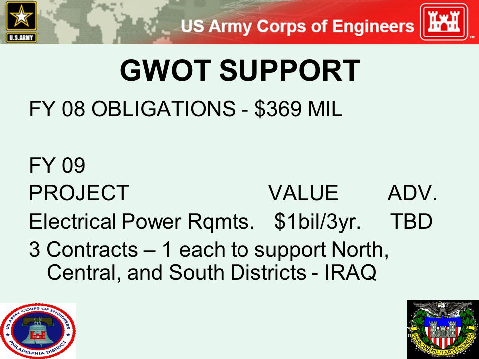 GWOT SUPPORT FY 08 OBLIGATIONS - $369 MIL FY 09 PROJECTVALUE ADV. Electrical Power Rqmts. $1bil/3yr. TBD 3 Contracts – 1 each to support North, Centra