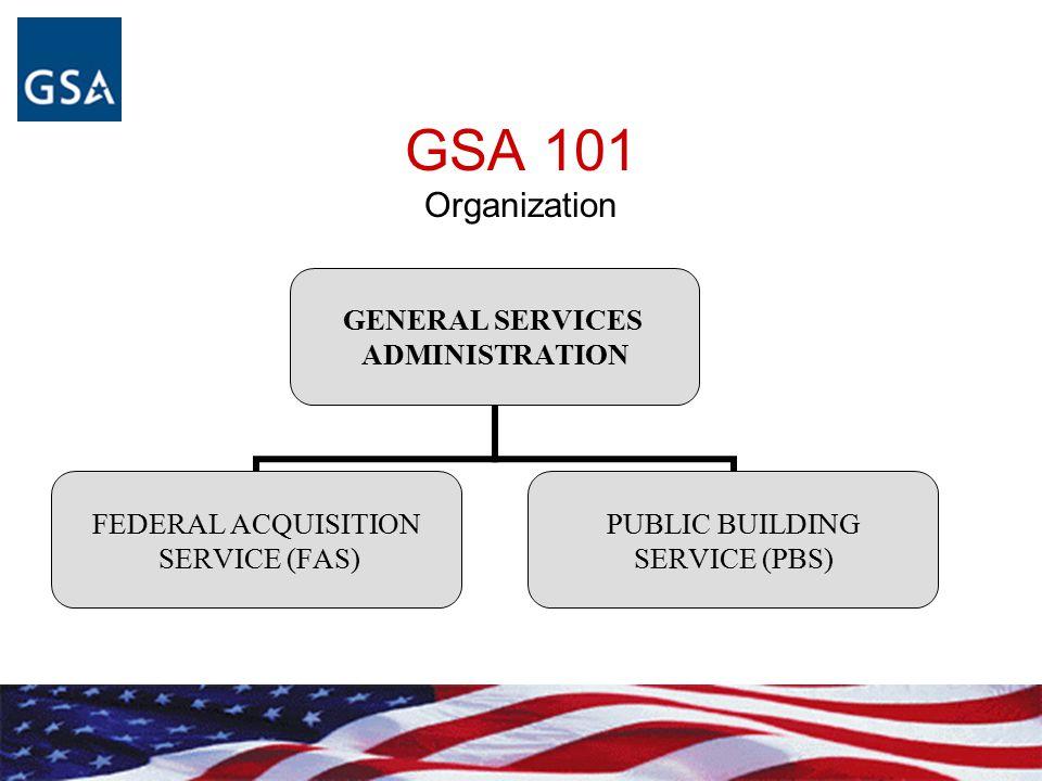 GSA 101 Organization GENERAL SERVICES ADMINISTRATION FEDERAL ACQUISITION SERVICE (FAS) PUBLIC BUILDING SERVICE (PBS)