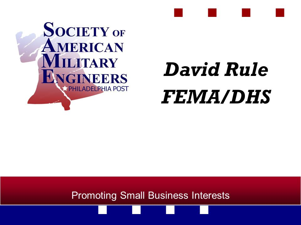 Promoting Small Business Interests David Rule FEMA/DHS