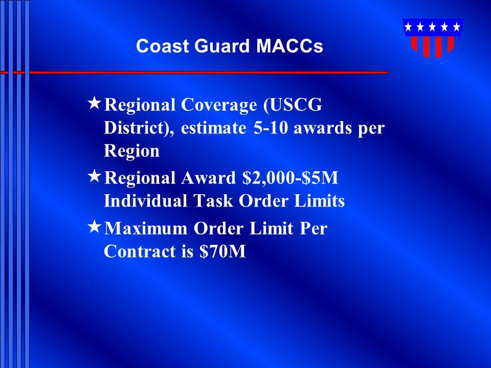 Coast Guard MACCs  Regional Coverage (USCG District), estimate 5-10 awards per Region  Regional Award $2,000-$5M Individual Task Order Limits  Maxi