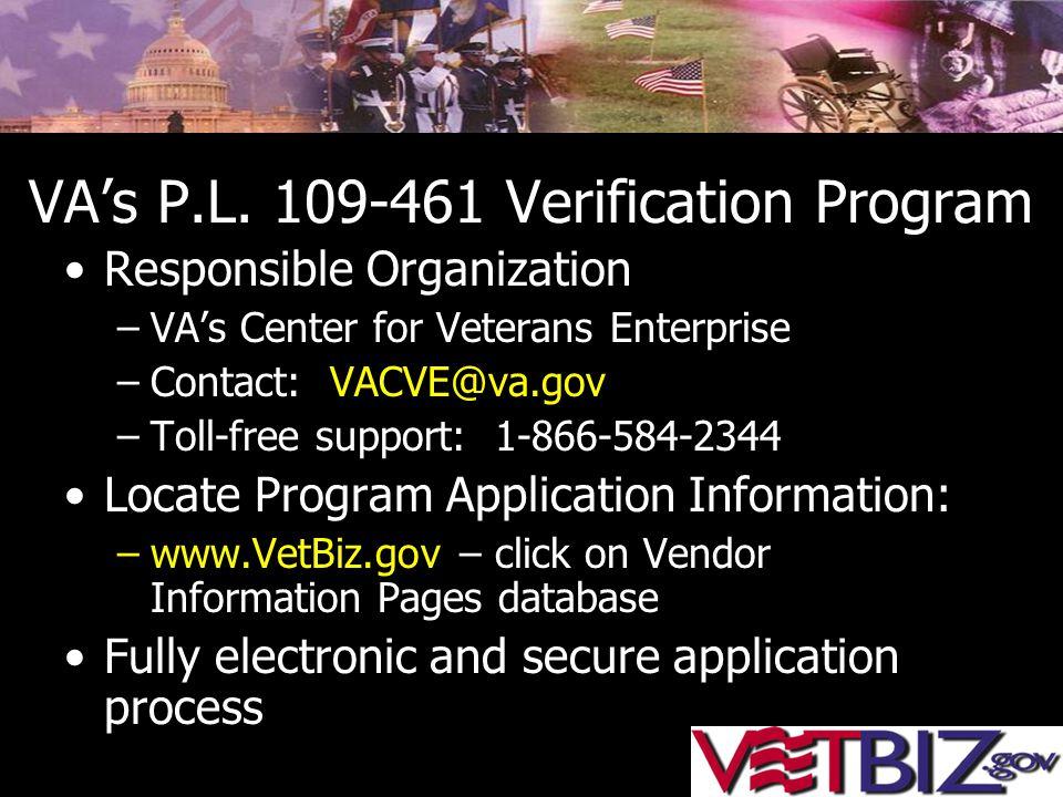 VA's P.L. 109-461 Verification Program Responsible Organization –VA's Center for Veterans Enterprise –Contact: VACVE@va.gov –Toll-free support: 1-866-