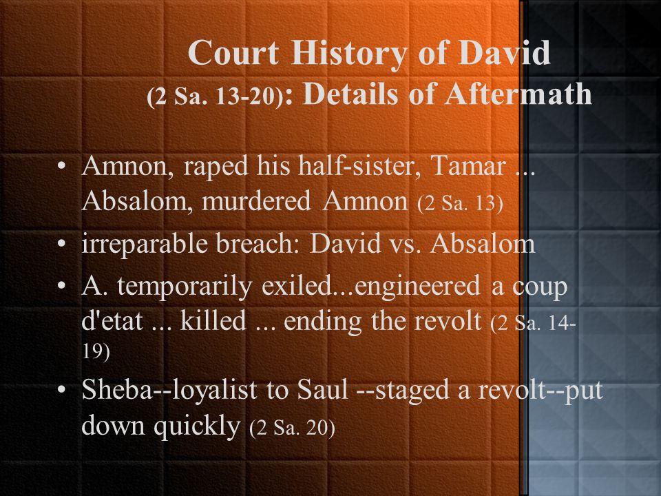 David's Sin (cont.) coverup: had the man killed 2 Sa.