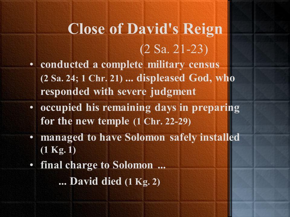Court History of David (2 Sa. 13-20) : Details of Aftermath Amnon, raped his half-sister, Tamar...