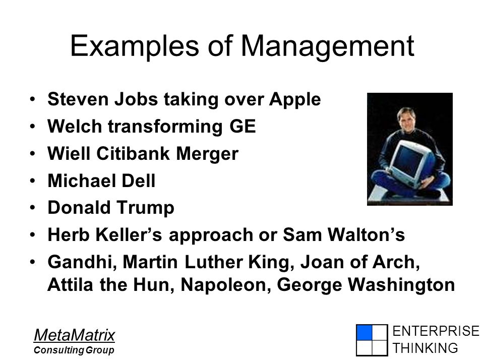 ENTERPRISE THINKING MetaMatrix Consulting Group Examples of Management Steven Jobs taking over Apple Welch transforming GE Wiell Citibank Merger Micha