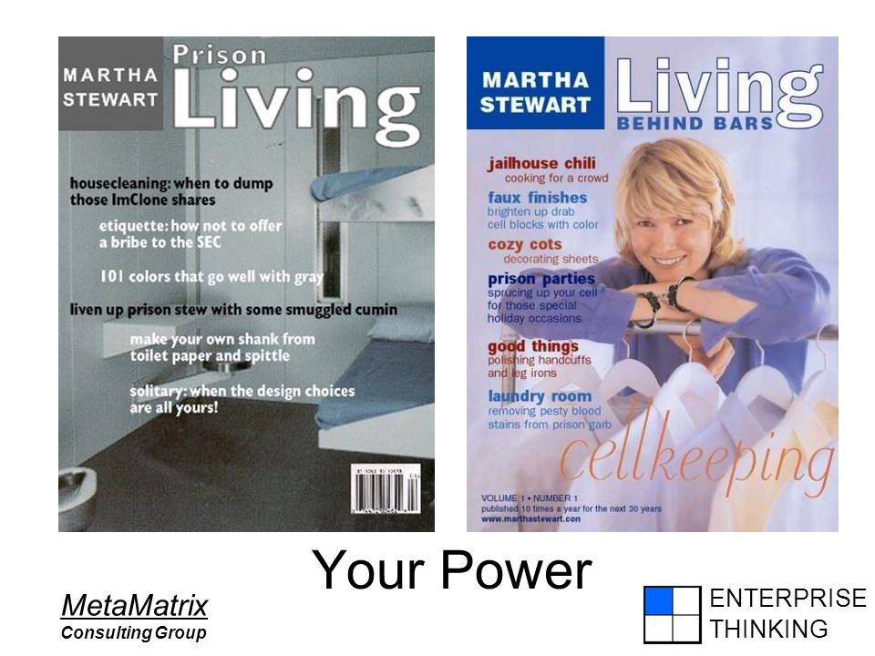 ENTERPRISE THINKING MetaMatrix Consulting Group Your Power