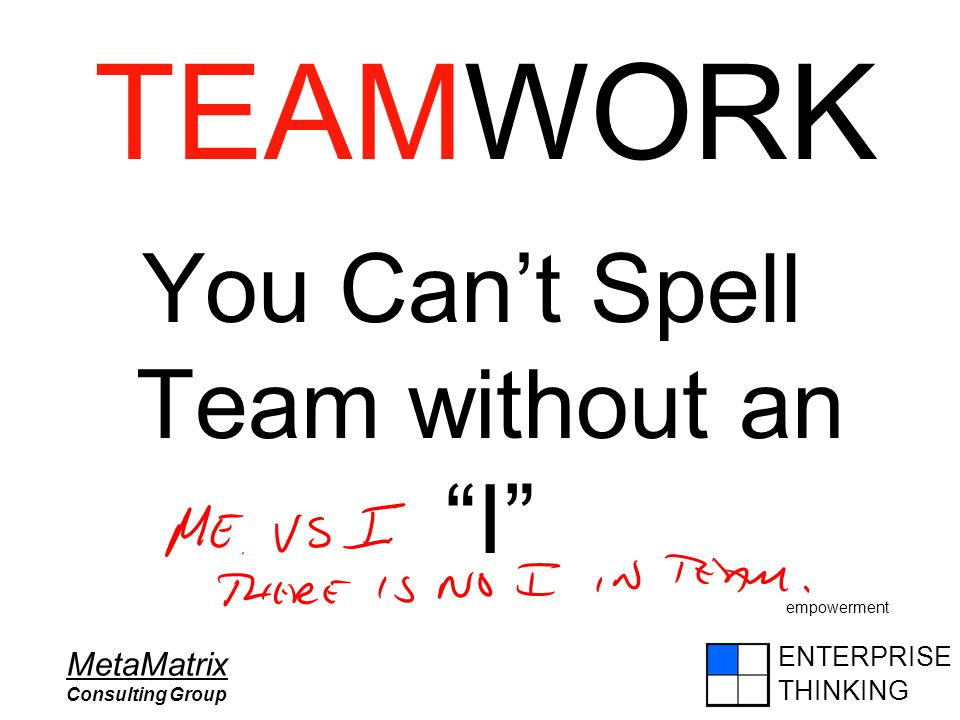 "ENTERPRISE THINKING MetaMatrix Consulting Group You Can't Spell Team without an ""I"" empowerment TEAMWORK"