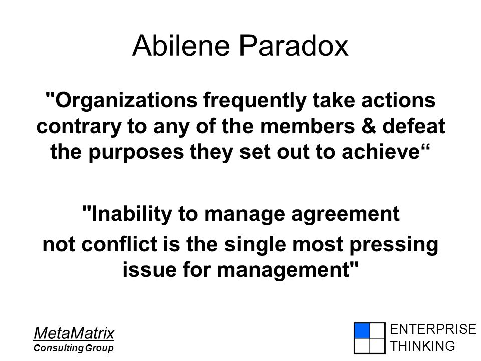 ENTERPRISE THINKING MetaMatrix Consulting Group Abilene Paradox