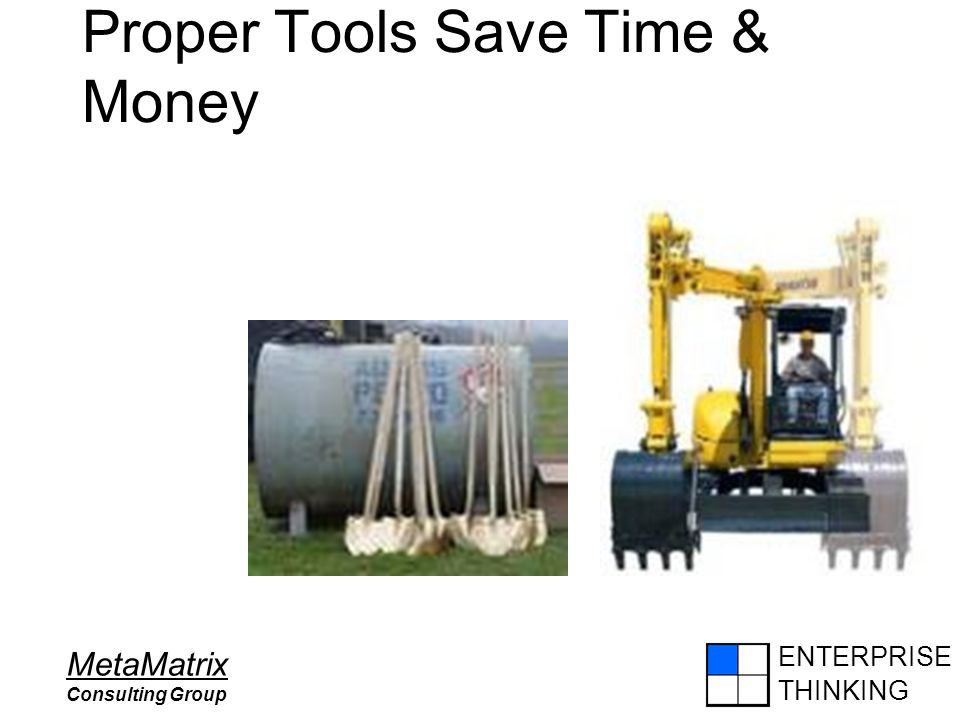 ENTERPRISE THINKING MetaMatrix Consulting Group Proper Tools Save Time & Money
