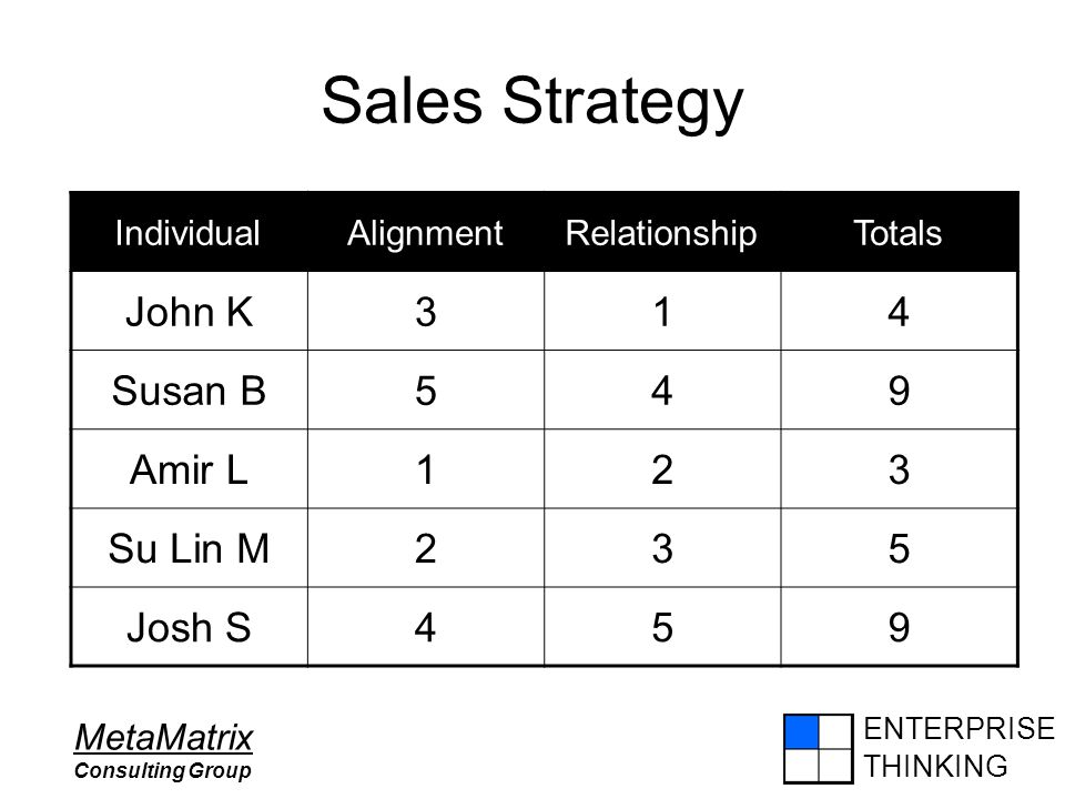 ENTERPRISE THINKING MetaMatrix Consulting Group Sales Strategy IndividualAlignmentRelationshipTotals John K314 Susan B549 Amir L123 Su Lin M235 Josh S