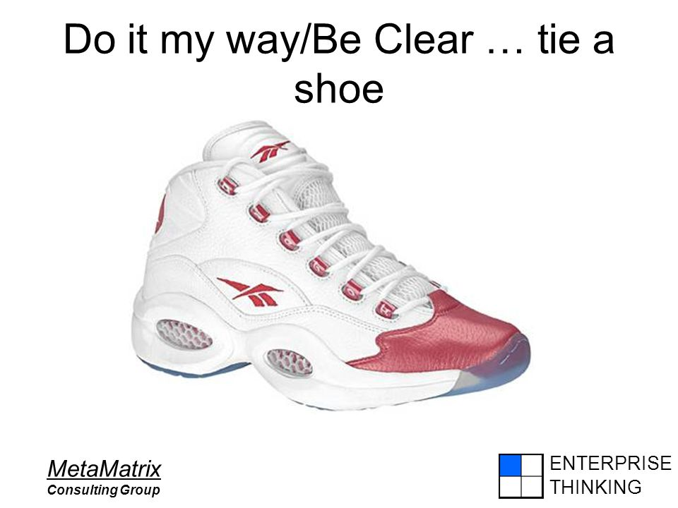 ENTERPRISE THINKING MetaMatrix Consulting Group Do it my way/Be Clear … tie a shoe