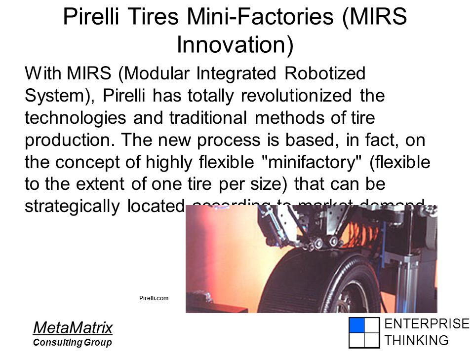 ENTERPRISE THINKING MetaMatrix Consulting Group Pirelli Tires Mini-Factories (MIRS Innovation) With MIRS (Modular Integrated Robotized System), Pirell